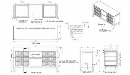 Wooden Cabinet Drawing