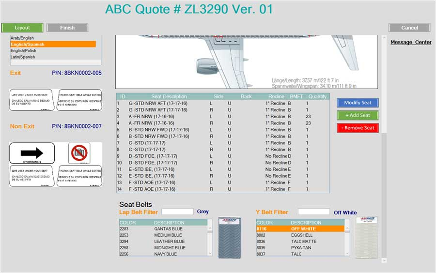 BOM Configurator for Aircraft Seating