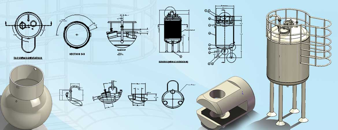 CAD Modeling Drafting for Pressure Vessels Accessories