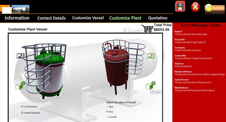 Product Configurator for Pressure Tank