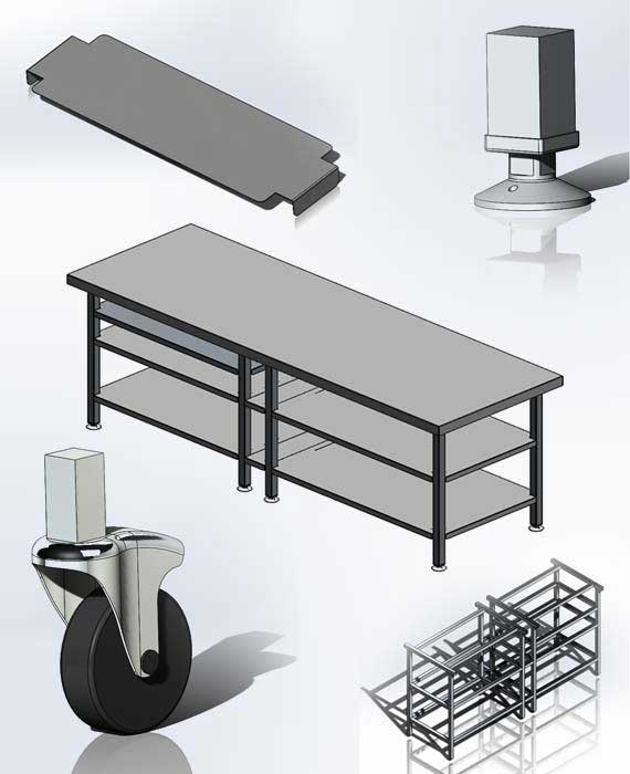 3D CAD Models for Stainless Steel Table