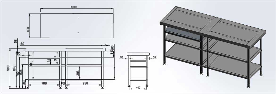 CAD Drawings for Stainless Steel Table