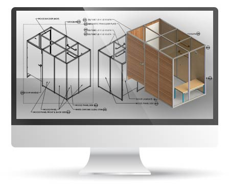 Concept Drawings to CAD Detailed Engineering of Retail Furniture, UK