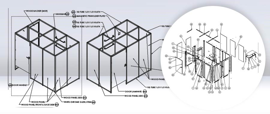 3D Detail Installation Manufacturing Drawings