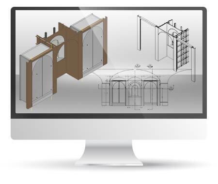 Millwork & Casework Shop Drawings from Architectural Plans of Museum, USA