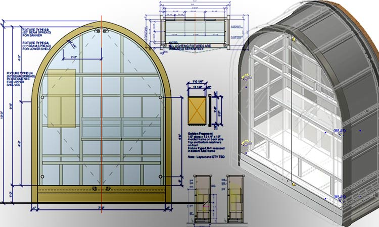 Display Cases Drawings with Model