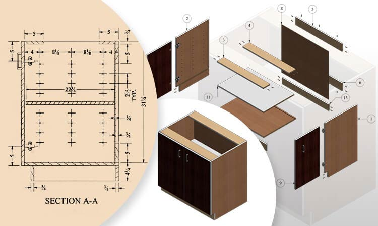 Detailed Shop Drawing of Cabinet