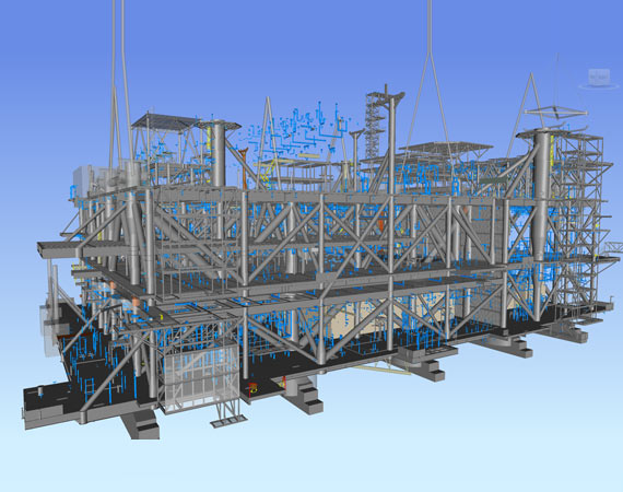 3D Tekla Model of Pipe & Tray Support