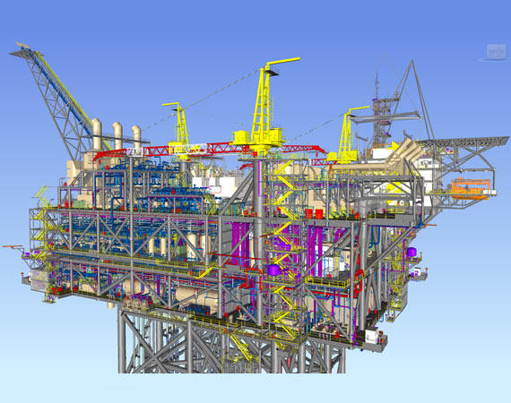 Detailed Steel Structural Model of Oil Platform