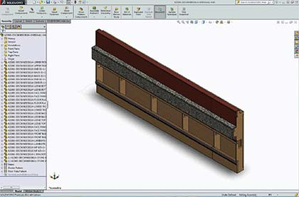 3D CAD model of partition walls in SolidWorks