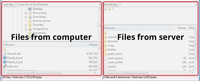 Upload Download Interface Filezilla
