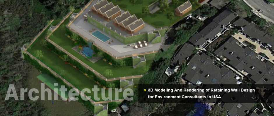 3D Modeling And Rendering of Retaining Wall Design for Environment Consultants in USA