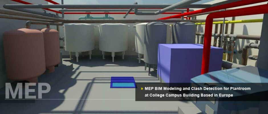 MEP BIM Modeling and Clash Detection for Plantroom at College Campus Building Based in Europe