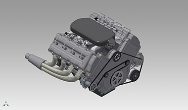 3D CAD Model of V8 Engine