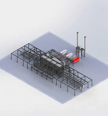 3D Rendering Single Yarn Treating Plant