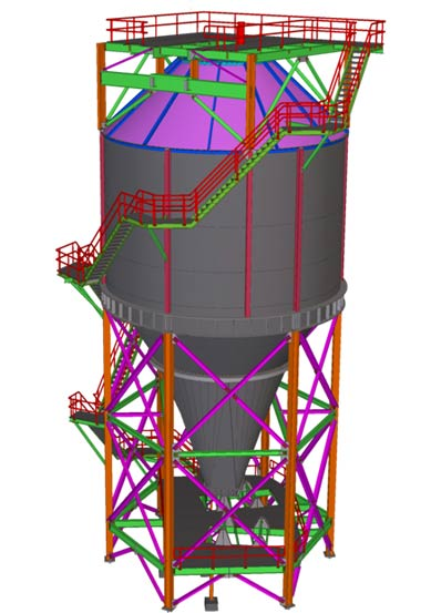 3D Sample – Steel Detailing Services for 1000 Ton Steel Silo